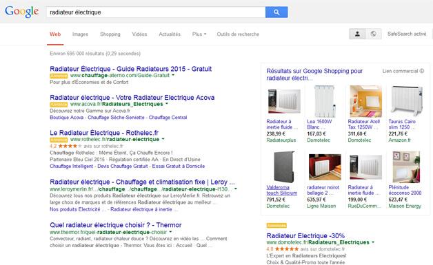 Exemple de résultats de recherches avec annonces commerciales