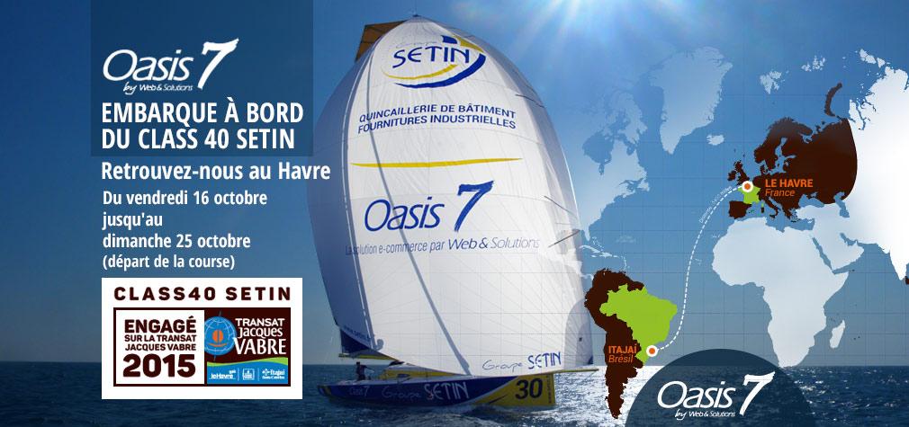 Le voilier Class40-SETIN (parrainé par le Groupe SÉTIN et Web et Solutions) au départ de la Transat Jacques Vabre au Havre